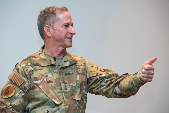 Chief of Staff of the Air Force Gen. David Goldfein speaks to participants of the 66th annual National Security Forum May 16, 2019, at Maxwell Air Force Base, Alabama. Hosted by Air University's Air War College on behalf of the Secretary of the Air Force, NSF enables the sharing of perspectives between civic leaders, senior military officers and experienced government civilians on leadership, strategy, national security and more.