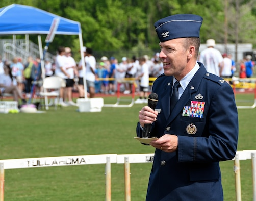 Col. Charles Roberts, chief of the AEDC Test Support Division based at Arnold Air Force Base, addresses the athletes and supporters gathered May 2, 2019, for the Tennessee Area 13 Special Olympics Spring Games at Tullahoma High School. (U.S. Air Force photo by Jill Pickett