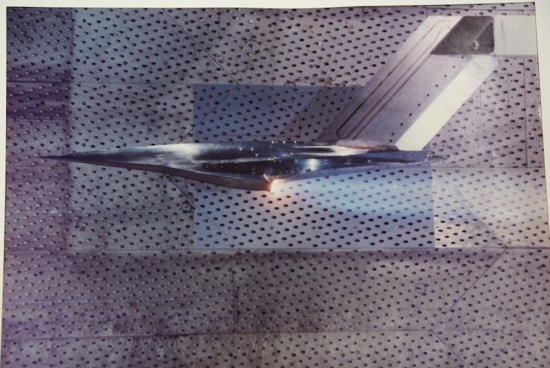 A model of the X-43 testing in one of the AEDC wind tunnels. The X-43, part of the NASA Hyper-X program, was an experimental unmanned hypersonic aircraft. It has since been replaced by the Boeing X-51 WaveRider. (U.S. Air Force photo)