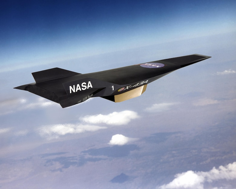 An artist's conception of the X-43A Hypersonic Experimental Vehicle, or Hyper-X, in flight. Several AEDC team members held a brief reunion last month to share memories and reflect on their work in support of the X-43A. Over 15 years ago, the NASA X-43A Hypersonic Vehicle set a world speed record for a jet-powered aircraft. (Illustration courtesy of NASA)