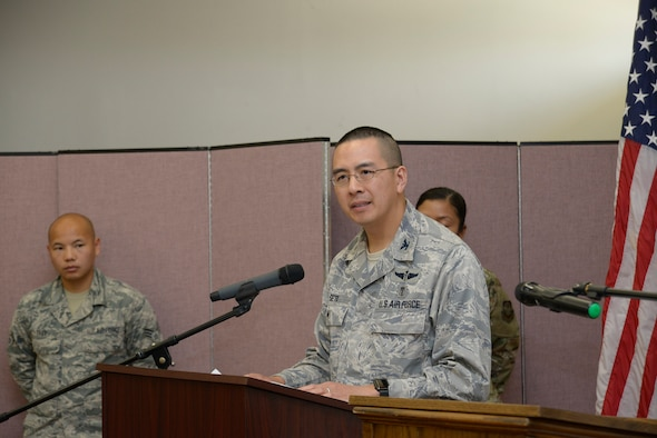 6th Medical Group Chief of Staff, U.S. Air Force Colonel Jiffy Seto, speaks to guests at the Asian Pacific Islander Heritage Month luncheon at MacDill Air Force Base, Fla., May 16, 2019.