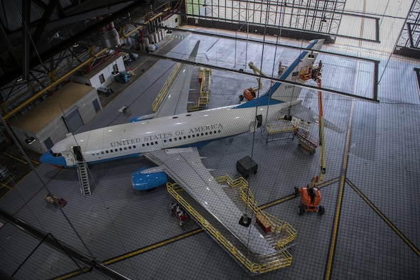 A 932nd Airlift Wing C-40C is surrounded by scaffolding and lifts as it has various routine maintenance done inside Hangar 1, Scott Air Force Base, Illinois, May 15, 2019. (U.S. Air Force photo by Christopher Parr)