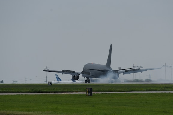 A KC-46A Pegasus lands May 17, 2019, at McConnell Air Force Base, Kan.  This KC-46 is Team McConnell's sixth delivery, and it will join a fleet that will advance air refueling capabilities around the world.(U.S. Air Force photo by Airman 1st Class Alexi Myrick)