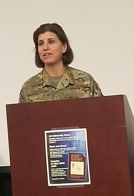 Brigadier Gen. Andrea Tullos, Air Force director of security forces and deputy chief of staff for logistics, engineering and force protection, attended the Air University Press launch of the book Defending Air Bases in an Age of Insurgency, vol. 2, May 14, 2019, at Maxwell Air Force Base, Alabama. During the event, the former Maxwell installation commander commented that 'air base defense is everyone's responsibility. We're all defenders, and in today's environment there are no sanctuary areas for airpower.