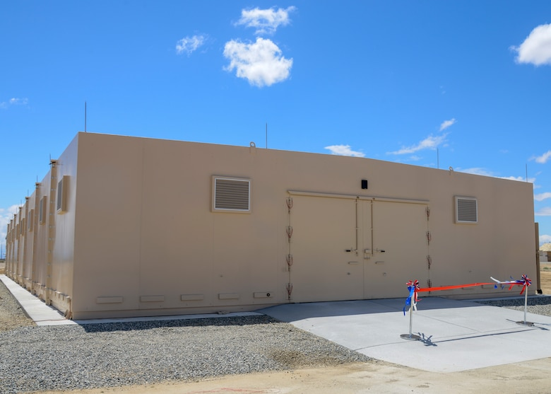 The new munitions bunker is 5,000 square feet and includes eight modular sections. The ribbon cutting ceremony took place at Edwards Air Force Base, Calif. May 16. (U.S. Air Force photo by Giancarlo Casem)
