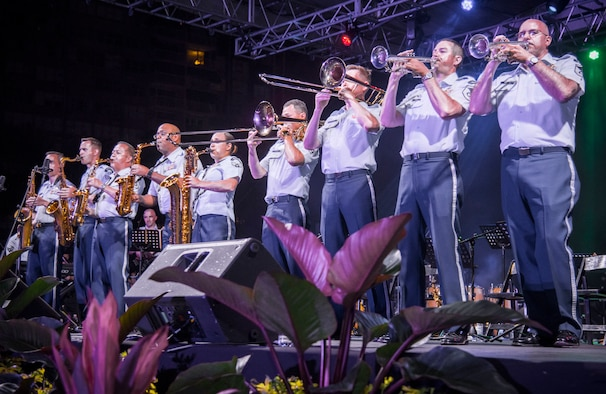 The United States Air Force Band of the West, from Joint Base San Antonio-Lackland, perform at Jardin Urbano de Isla Verde in Carolina, Puerto Rico, April 5, 2019 as part of a series of performances and masterclasses around the island featuring multiple Band of the West ensembles. The USAF Band of the West are touring the island of Puerto Rico to tell the Air Force's story through live music and to continue building relationships with Puerto Rican communities during concerts. (U.S. Air Force photo by: Airman 1st Class Shelby Pruitt)