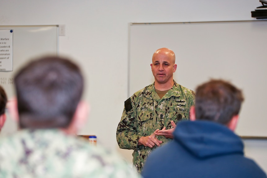 CORONADO, Calif. (May 20, 2019) - Master Chief Petty Officer of the Navy Russell L. Smith answers a question from training staff during a visit to the Naval Special Warfare Center in San Diego. The Naval Special Warfare Center provides initial and advanced training to the Sailors who make up the Navy's elite SEAL and Special Boat Teams.