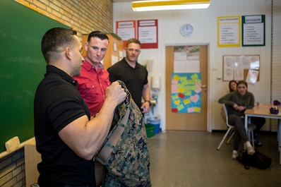 U.S. Marines with Marine Rotational Force-Europe 19.2, Marine Forces Europe and Africa, visit a Norwegian middle school in Setermoen, Norway, May 9, 2019