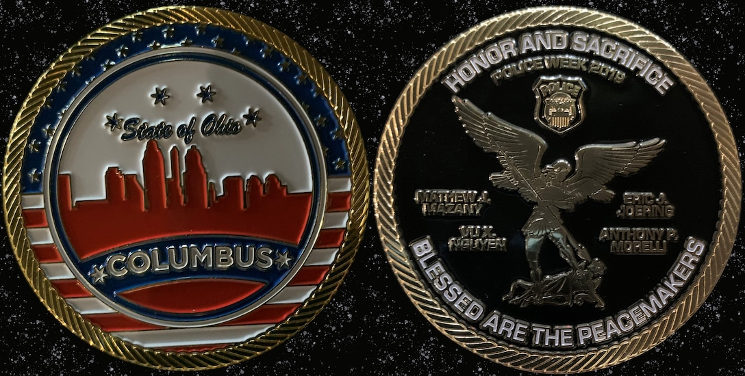front and back of police coin