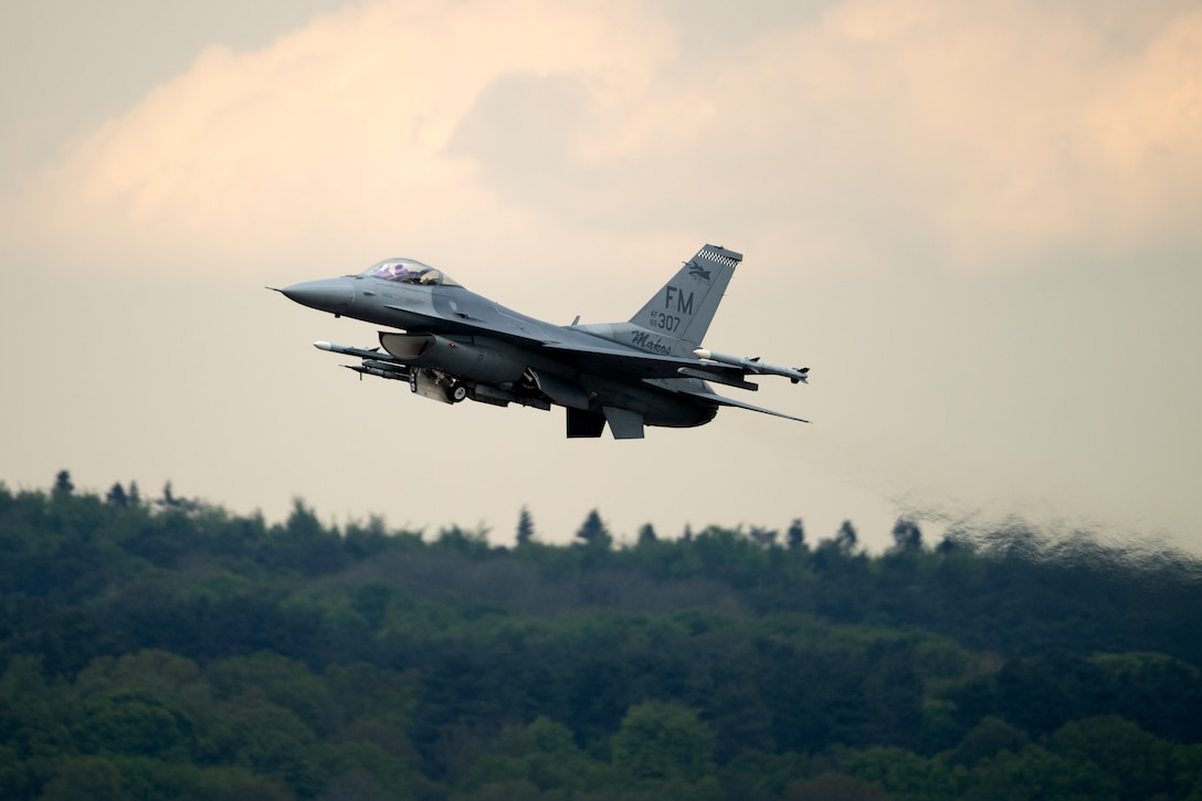 An F-16C Fighting Falcon assigned to the 93rd Fighter Squadron, Homestead Air Reserve Base, Fla., takes off from the flight line at Royal Air Force Lakenheath, England, May 7, 2019. Aircrew and support personnel from the Homestead ARB deployed to RAF Lakenheath to participate in a Flying Training Deployment with U.S. Air Forces in Europe units, as well as partners and allies in the region. (U.S. Air Force photo by Senior Airman Malcolm Mayfield)