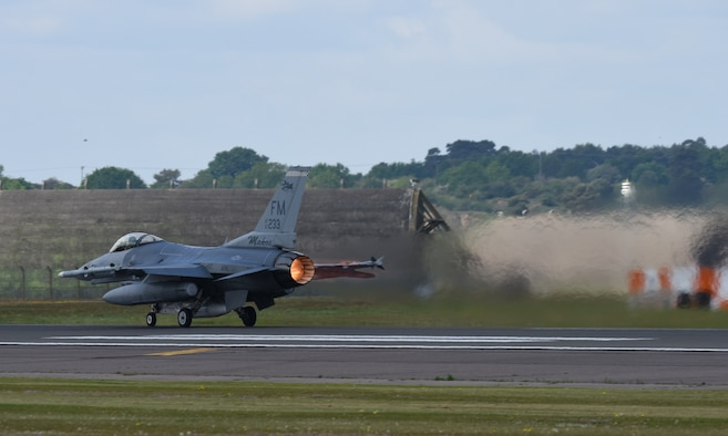 An F-16C Fighting Falcon assigned to the 93rd Fighter Squadron, Homestead Air Reserve Base, Fla., takes off at Royal Air Force Lakenheath, England, May 21, 2019. The unit's deployment to RAF Lakenheath demonstrates the U.S. Air Force's ability to integrate a total force team into U.S. Air Forces in Europe-Air Forces Africa training and operations. (U.S. Air Force photo by Airman 1st Class Madeline Herzog)