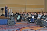 DLA Energy Commander Air Force Brig. Gen. Albert Miller presided the opening ceremony of the DLA Energy 2019 Worldwide Energy Conference to a crowd of more than two thousand service and industry professionals gathered at the Gaylord National Hotel and Conference Center in National Harbor, Maryland, May 20. The conference's main objective is to forge new working relationships. Photo by Connie Braesch