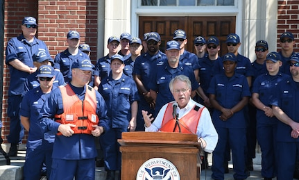 John J. Tecklenburg, mayor of Charleston, speaks during the National Safe Boating Week Open House held May 18, 2019, at U.S. Coast Guard Sector Charleston in Charleston, S.C. Tecklenburg stressed the importance of boating safety as well as maintaining acute situational awareness while on the water. The Coast Guard National Safe Boating Week Campaign is an annual week-long event held every May to promote boating safety and to inform the public on proper boating procedures. Federal law mandates that the U.S. Coast Guard establish the National Boating Safety Advisory Council and consult with it on regulations and other major boating safety matters. (U.S. Air Force photo by Senior Airman Cody R. Miller)
