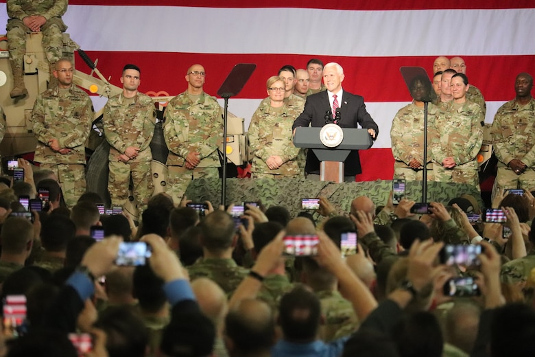 Vice President Mike Pence visits Fort McCoy, thanks troops