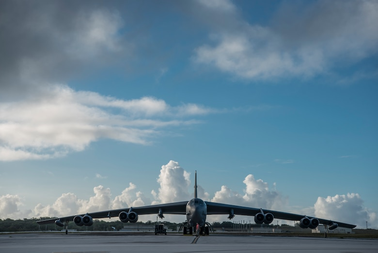 A U.S. Air Force B-52H Stratofortress, assigned to the 23rd Expeditionary Bomb Squadron (EBS), sits with engines running on the flightline at Andersen Air Force Base, Guam, May 15, 2019. 23rd EBS Airmen and aircraft participated in exercise Northern Edge 2019, a joint training exercise that prepares U.S. military personnel to respond to crises in the Indo-Pacific region. (U.S. Air Force photo by Senior Airman Ryan Brooks)