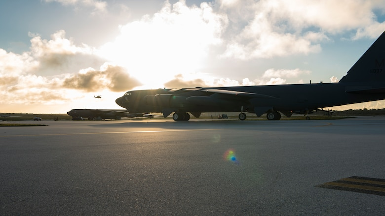 A U.S. Air Force B-52H Stratofortress, assigned to the 23rd Expeditionary Bomb Squadron (EBS), taxis on the flightline at Andersen Air Force Base, Guam, May 15, 2019. 23rd EBS Airmen and aircraft participated in exercise Northern Edge 2019, a joint training exercise that prepares U.S. military personnel to respond to crises in the Indo-Pacific region. (U.S. Air Force photo by Senior Airman Ryan Brooks)