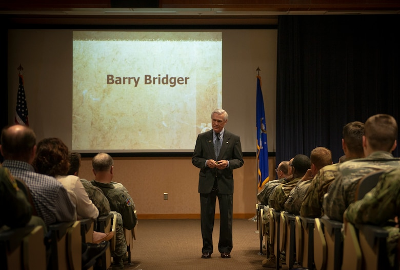 Vietnam veteran and Prisoner of War, retired Air Force Lt. Col. Barry Bridger spoke at commander's update briefing May 16, 2019, at Offutt Air Force Base, Nebraska. Bridger was shot down Jan.23 1967, only to be captured and imprisoned at Hoa Loa Prision. He was presumed missing in action until 1970, when Vietnamese government finally acknowledged that he was a prisoner of war.