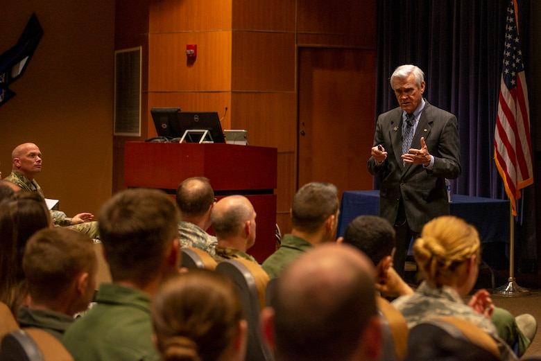 Vietnam Prisoner of War, retired Air Force Lt. Col. Barry Bridger spoke to Team Offutt during the commander's update briefing May 16, 2019, at Offutt Air Force Base, Nebraska. After spending 2,232 days in captivity in the Hoa Loa  prisoner camp, Bridger was released during Operation Homecoming March 4, 1973.