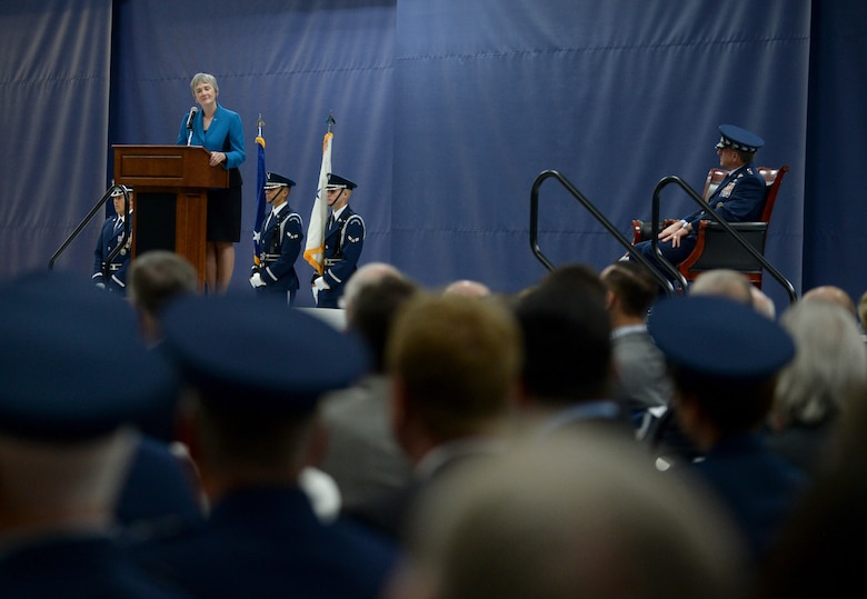 Secretary of the Air Force Heather Wilson speaks at the farewell ceremony in honor of Wilson at Joint Base Andrews, Md., May 21, 2019. (U.S. Air Force photo by Staff Sgt. Chad Trujillo)