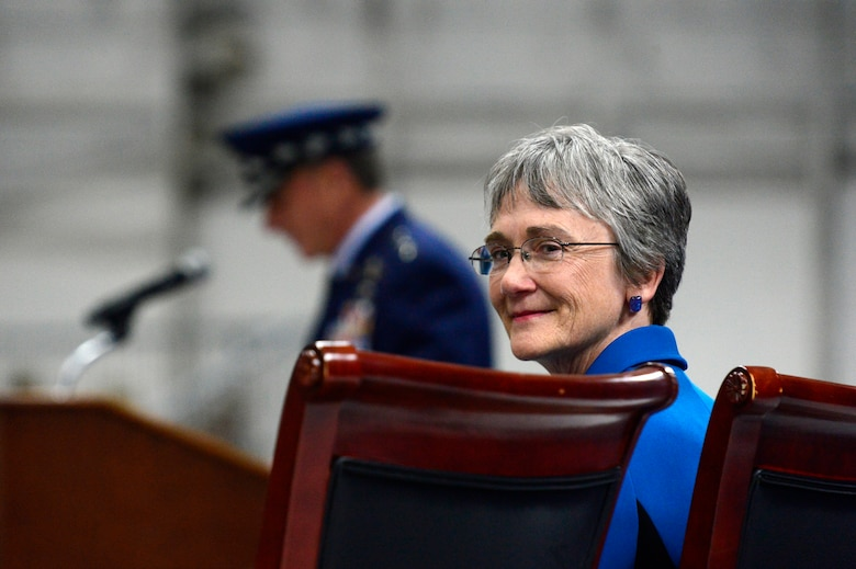 Secretary of the Air Force Heather Wilson listens as Air Force Chief of Staff Gen. David L. Goldfein gives his remarks during her farewell ceremony at Joint Base Andrews, Md., May, 21,2019.  (U.S. Air Force photo by Staff Sgt. Rusty Frank)