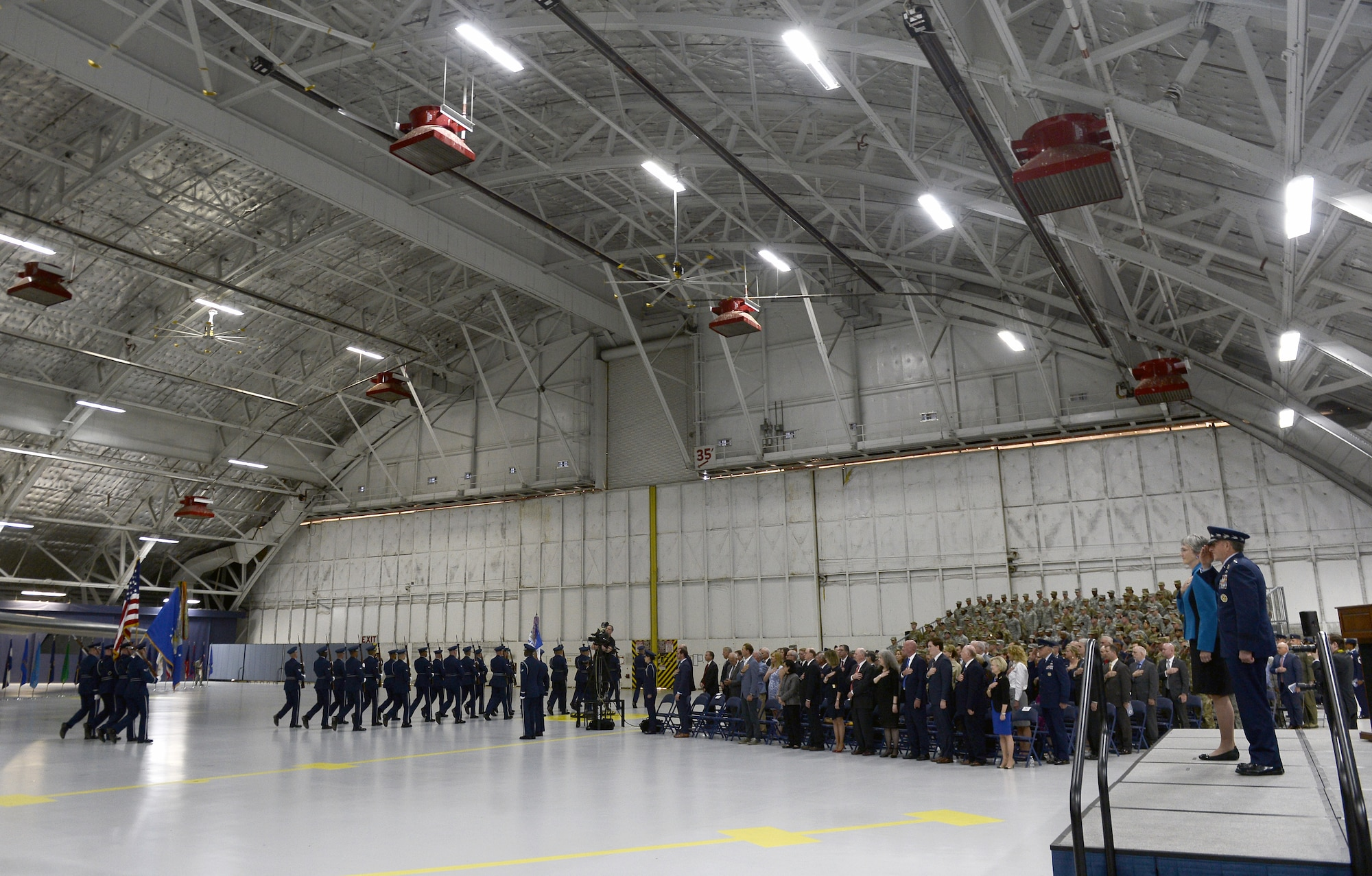 Air Force Honor Guard conducts a pass and review for Secretary of the Air Force Heather Wilson and Air Force Chief of Staff Gen. David L. Goldfein at the farewell ceremony in honor of Wilson at Joint Base Andrews, Md., May 21, 2019. (U.S. Air Force photo by Staff Sgt. Chad Trujillo)