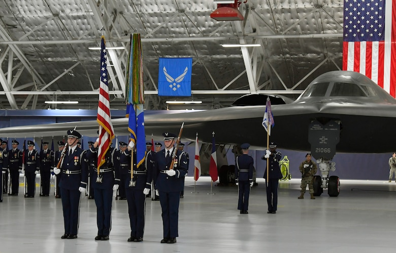 Air Force color guard presents the colors during Secretary of the Air Force Heather Wilson's Farewell Ceremony at Joint Base Andrews, Md., May 21, 2019. (U.S. Air Force photo by Wayne Clark)
