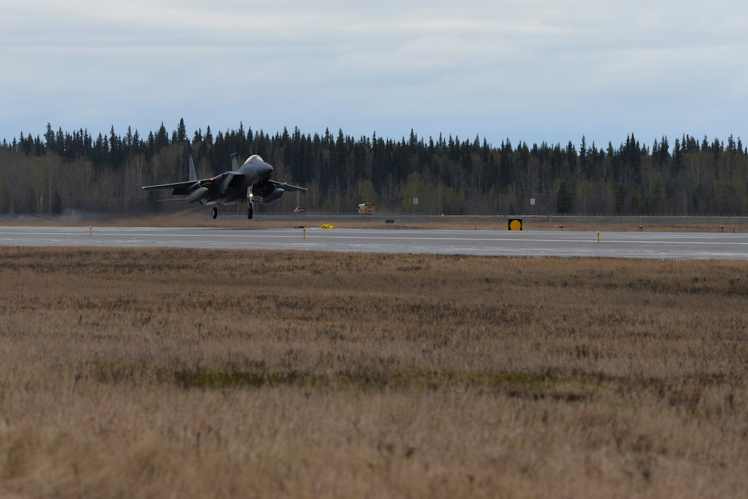 A U.S. Air Force F-15 Eagle assigned to the 44th Fighter Squadron out of Kadena Air Base, Japan, lands in preparation for Northern Edge (NE19) May 8, 2019, at Eielson Air Force Base, Alaska.