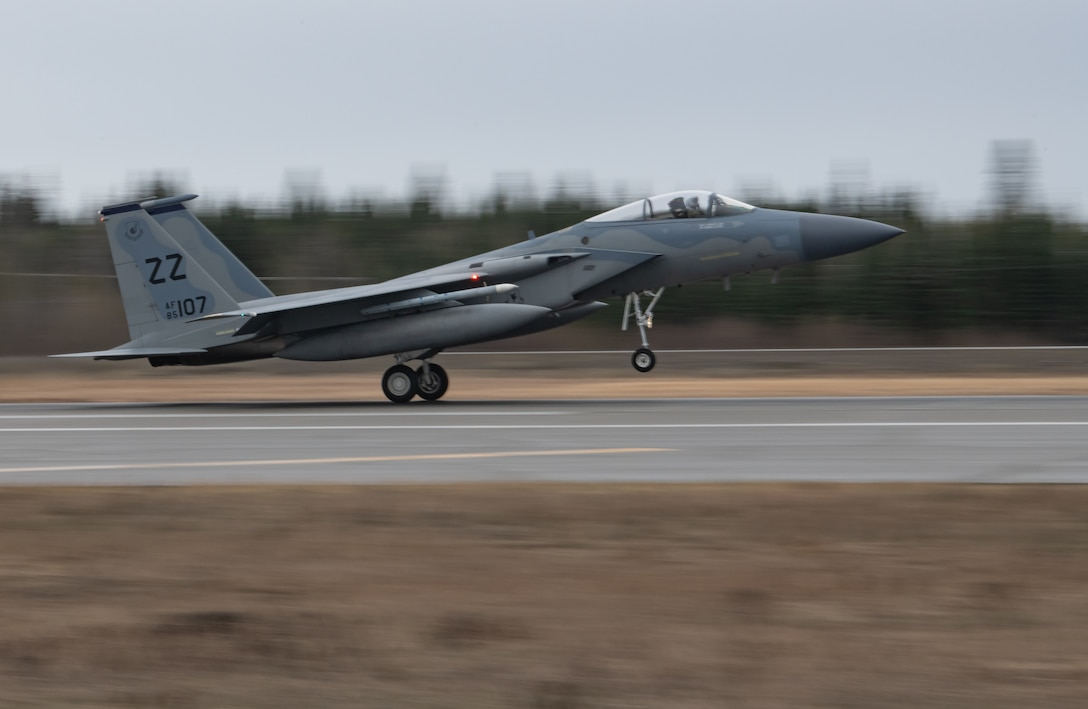 A U.S. Air Force F-15 Eagle assigned to the 44th Fighter Squadron from Kadena Air Base, Japan, lands in preparation for Northern Edge May 8, 2019, at Eielson Air Force Base, Alaska.