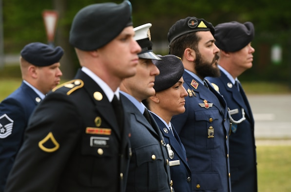 Kaiserslautern Military Community service members stand in formation during a retreat ceremony in honor of Police Week 2019 on Vogelweh Military Complex, Germany, May 17, 2019.