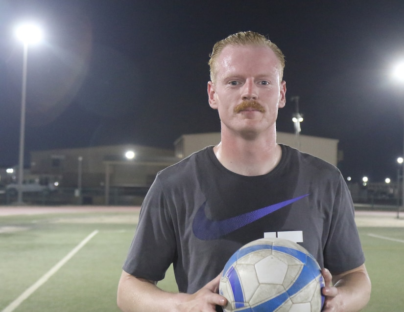 Sgt. 1st Class Michael Armstrong, 184th Sustainment Command, is the coach of Team Glory, a soccer team at Camp Arifjan, Kuwait, May 20, 2019.