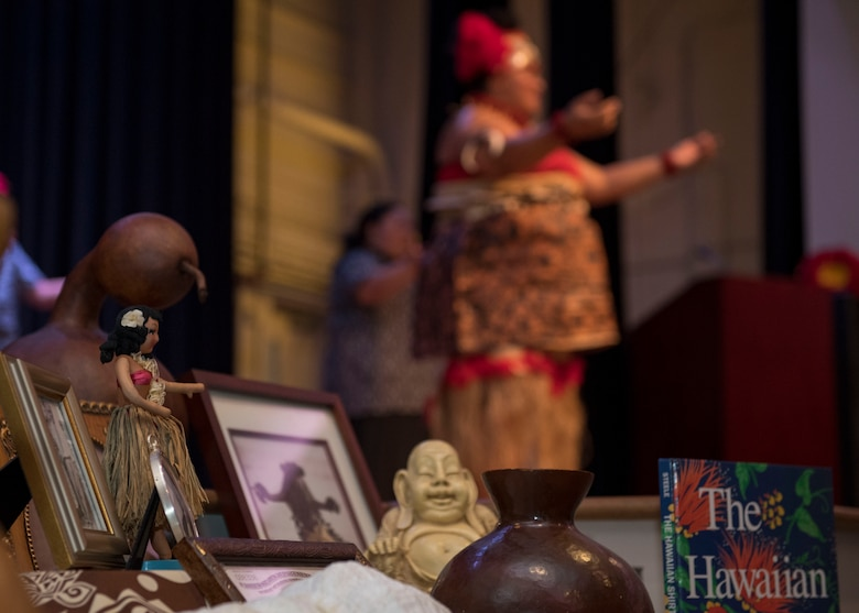 An arrangement of cultural pieces are on display during a ceremony in honor of Asian American and Pacific Islander Heritage Month at Joint Base Langley-Eustis, Virginia, May 21, 2019.