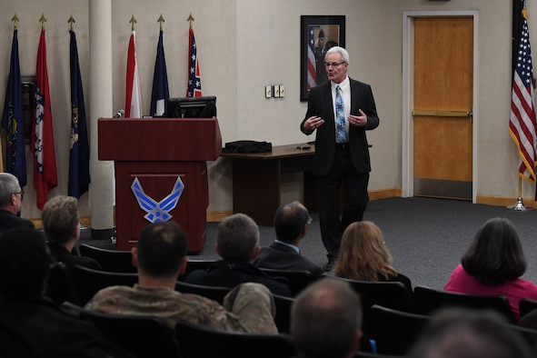Chris Leak, Air Force Life Cycle Management Center senior functional for program managers and director of acquisition excellence and program execution, speaks to approximately 30 Hanscom employees impacted by his office's training, policies and guidance May 16, 2019, at the Hanscom Conference Center, Hanscom Air Force Base, Mass. (U.S. Air Force photo by Mark Herlihy)