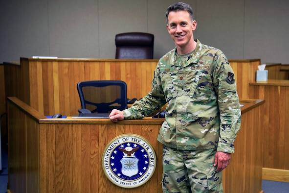 U.S. Air Force Maj. Christopher Stein, 8th Fighter Wing staff judge advocate, poses for a photo at Kunsan Air Base, Republic of Korea, May 22, 2019. Stein was awarded the Outstanding Young Military Lawyer Award for his exceptional leadership, service to the community, and development of subordinates. (U.S. Air Force photo by Tech. Sgt. Joshua P. Arends)
