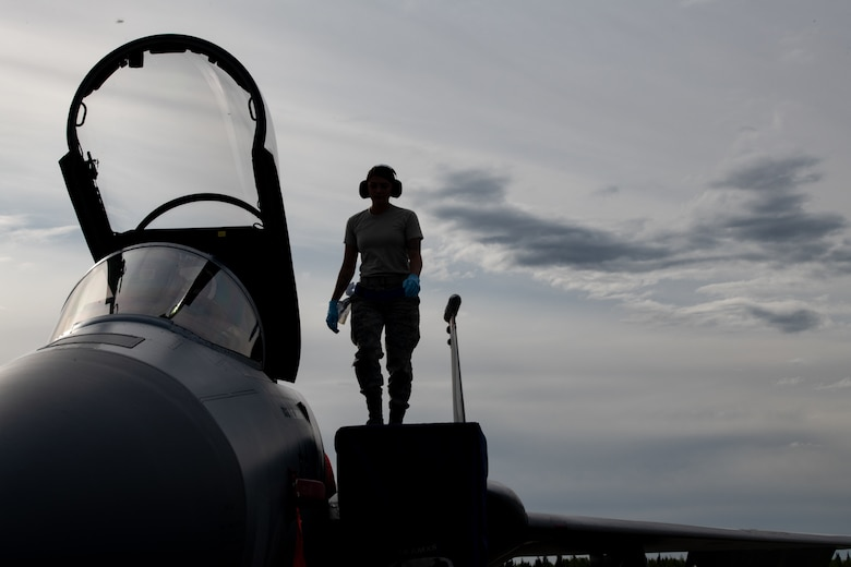 A U.S. Air Force Airman from the 44th Aircraft Maintenance Squadron conducts a post flight check on an F-15C Eagle assigned to the 44th Fighter Squadron from Kadena Air Base, Japan, during exercise Northern Edge, May 14, 2019, at Eielson Air Force Base, Alaska.