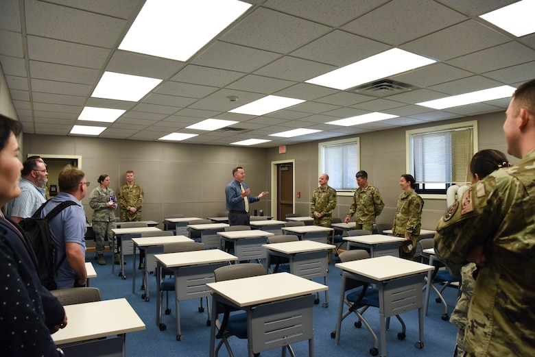 The 8th Fighter Wing leadership toured the newly renovated education center at Kunsan Air Base, Republic of Korea, May 22, 2019. All professional military education testing has been centralized to one location by creating a second testing room, expanding testing capabilities by 33 percent. (U.S. Air Force photo by Senior Airman Savannah L. Waters)