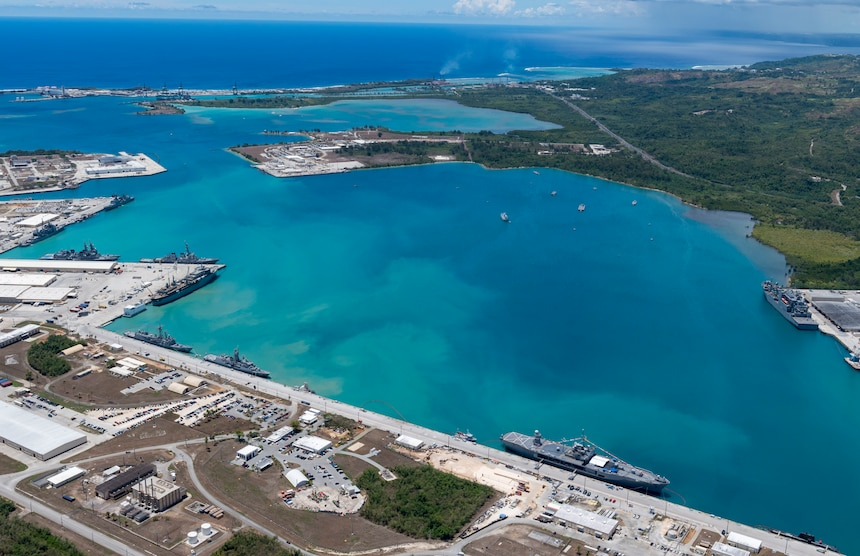190522-N-LN093-1393  SANTA RITA, Guam (May 22, 2019) – An aerial view of U.S. Naval Base Guam shows U.S. Navy, Royal Australian Navy, Japan Maritime Self-Defense Force and the Republic of Korea Navy, vessels moored in Apra Harbor, in support of Pacific Vanguard (PACVAN), May 22. PACVAN is the first of its kind quadrilateral exercise between Australia, Japan, Republic of Korea, and U.S. Naval forces. Focused on improving the capabilities of participating countries to respond together to crisis and contingencies in the region, PACVAN prepares the participating maritime forces to operate as an integrated, capable, and potent allied force ready to respond to a complex maritime environment in the Indo-Pacific region.