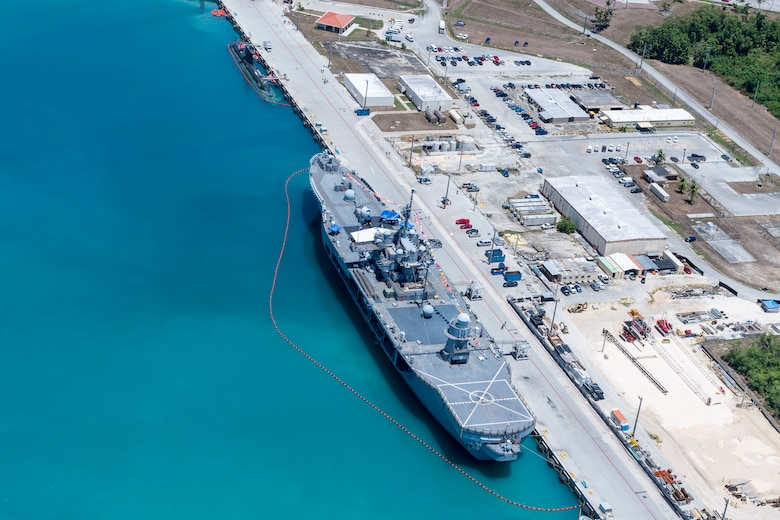 SANTA RITA, Guam (May 22, 2019) – An aerial view of The U.S. 7th Fleet flagship USS Blue Ridge (LCC 19) moored in Apra Harbor, in support of Pacific Vanguard (PACVAN), May 22. PACVAN is the first of its kind quadrilateral exercise between Australia, Japan, Republic of Korea, and U.S. Naval forces. Focused on improving the capabilities of participating countries to respond together to crisis and contingencies in the region, PACVAN prepares the participating maritime forces to operate as an integrated, capable, and potent allied force ready to respond to a complex maritime environment in the Indo-Pacific region.