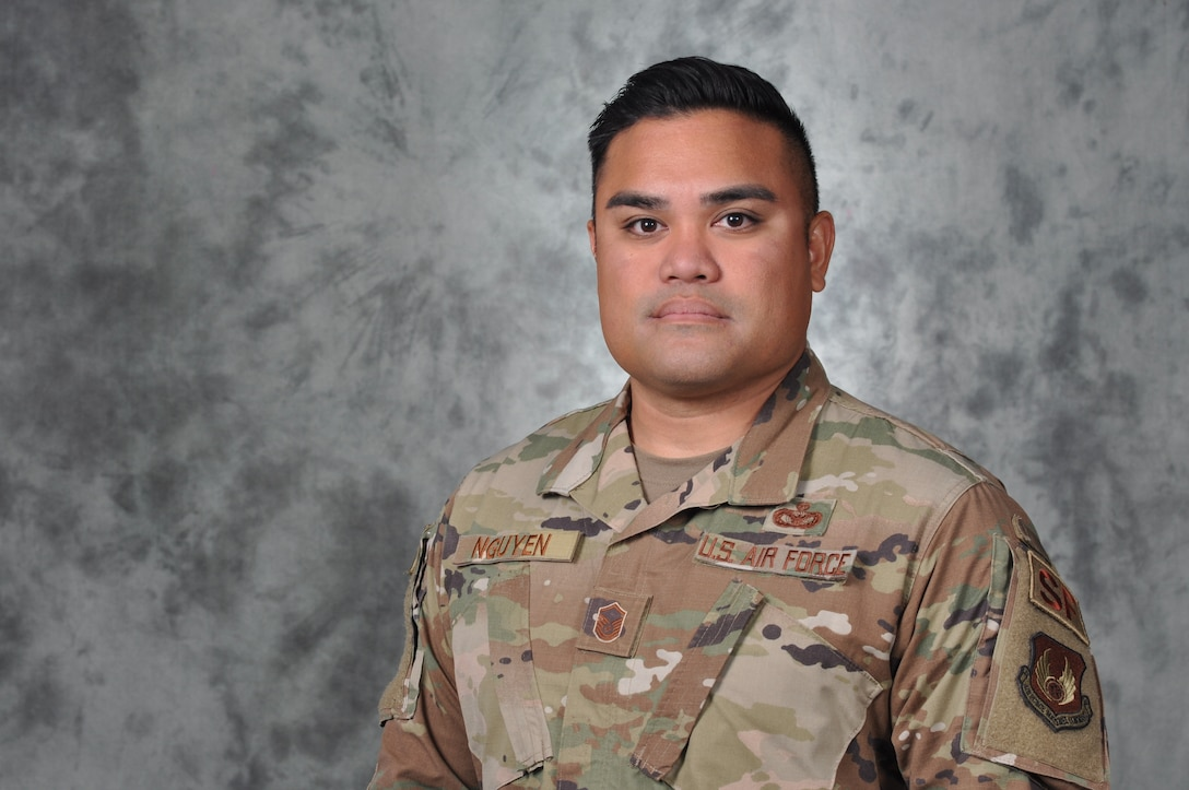 Master Sgt. Christopher Nguyen said the Asian-Pacific American Heritage Committee has helped him learn more about his Vietnamese and Polynesian heritage. Nguyen is a member of the 72nd Security Forces Squadron. (U.S. Air Force photo/Kelly White)