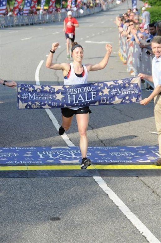 U.S. Marine Corps 1st Lt. Lindsay Carrick, 26, finished the 2019 Marine Corps Historic Half with purpose and pride as the first female finisher in a time of 1:25:02.