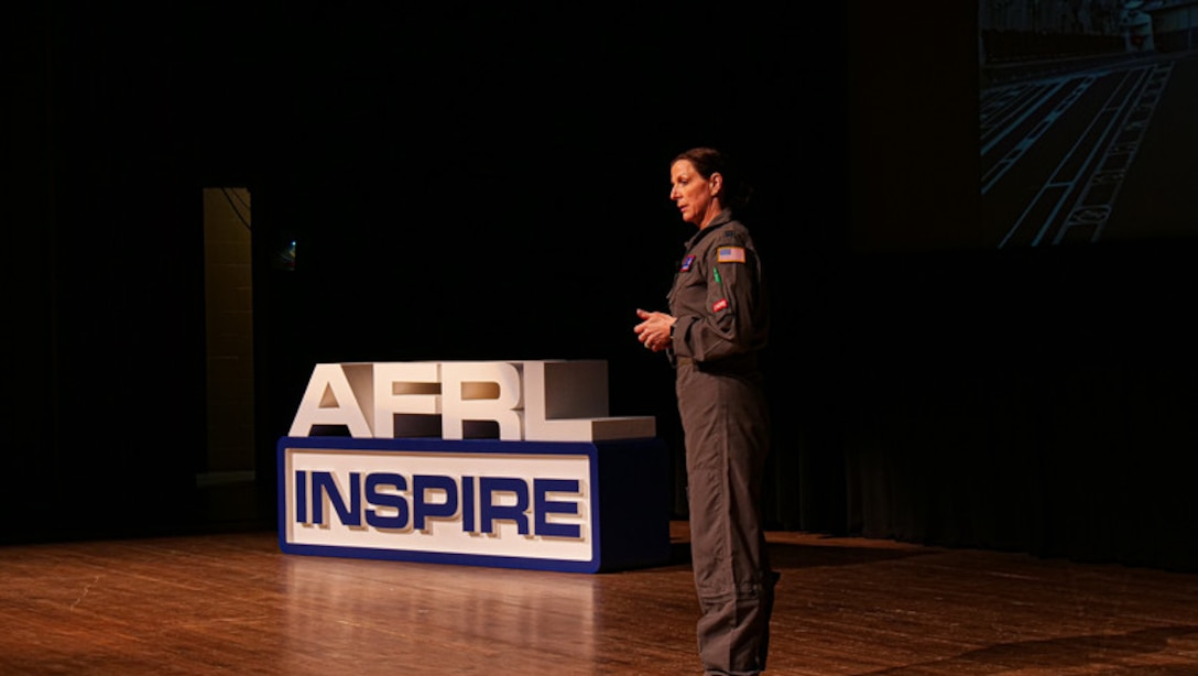 "Capt. Sarah Woody, deputy course director for the Critical Air Transport (CCAT) initial course at the United States Air Force School of Aerospace Medicine, presents her Inspire talk, entitled, ""Thought for Food."""