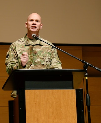 U.S. Air Force Col. Michael Manion, 55th Wing commander, gives opening remarks during the Empowering Tomorrow's Leaders conference May 14, 2019, at the Salvation Army Kroc Center Omaha, Nebraska. The conference was held to help future leaders learn various ways to step up and take charge of the day-to-day business in their workplaces.