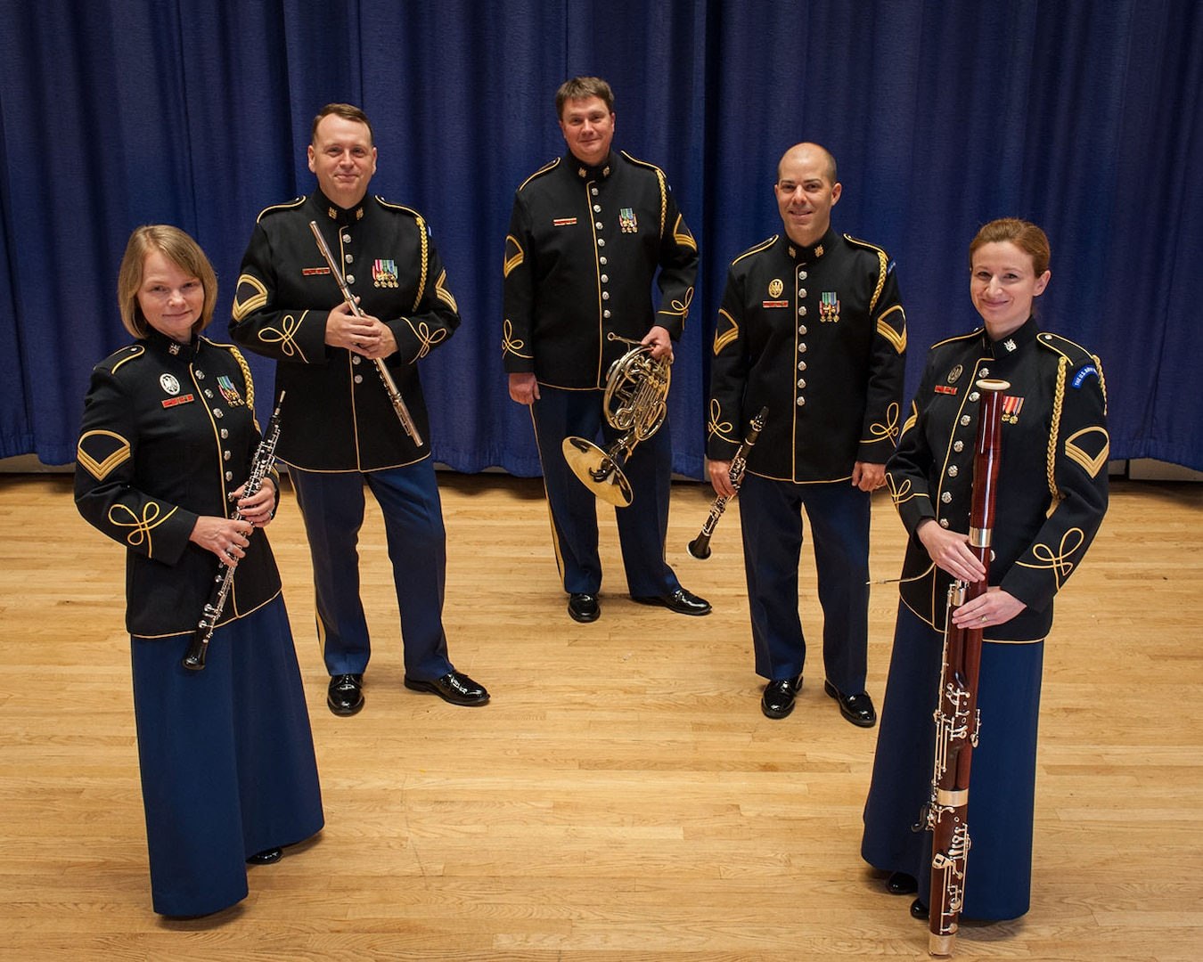 Members of the U.S. Army Band Woodwind Quintet, one of the Army's premiere chamber ensembles.