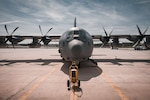 A HC-130J Combat King II sits on display at the 106th Rescue Wing, New York Air National Guard, during a ceremony at Francis S. Gabreski Air National Guard Base, Westhampton Beach, N.Y., May 17, 2019. The 106th presented the rescue aircraft during a ceremony, the first of four brand new such models from Lockheed Martin, the first time in the 106th's 72 year history that is has received aircraft new from the manufacturer and will be flown by the wing's 102nd Rescue Squadron, the oldest unit in the Air National Guard.