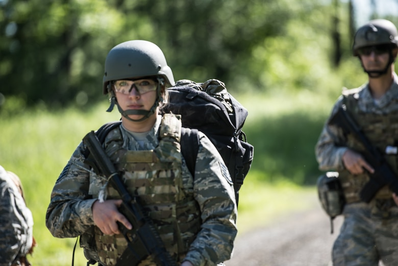 U.S. Airmen from the 193rd Special Operations Medical Group Detachment 1, Pennsylvania Air National Guard, perform a patrol during Tactical Combat Casualty Care training.