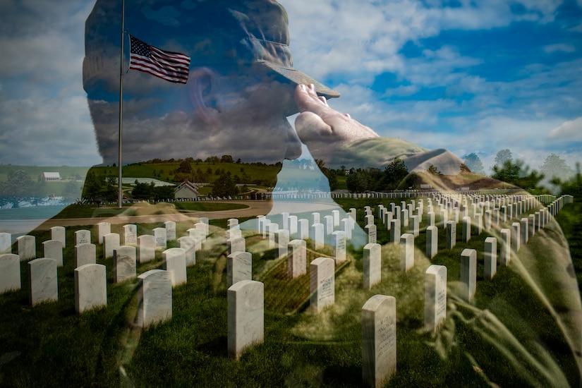 An  airman salutes at a graveyard.