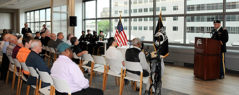 Maj. Vic Aviles, G-3 operations officer for the U.S. Army Reserve's 99th Readiness Division headquartered on Joint Base McGuire-Dix-Lakehurst, New Jersey, addresses the audience as the Federal Reserve Bank of Philadelphia hosts its third-annual Memorial Day remembrance ceremony May 23 at its headquarters to honor those men and women in uniform who have made the ultimate sacrifice in service to the nation. The Federal Reserve Bank of Philadelphia is one of the 12 regional Reserve Banks that, together with the Board of Governors in Washington, D.C., make up the Federal Reserve System. The institution holds a remembrance ceremony the Thursday before Memorial Day every year.