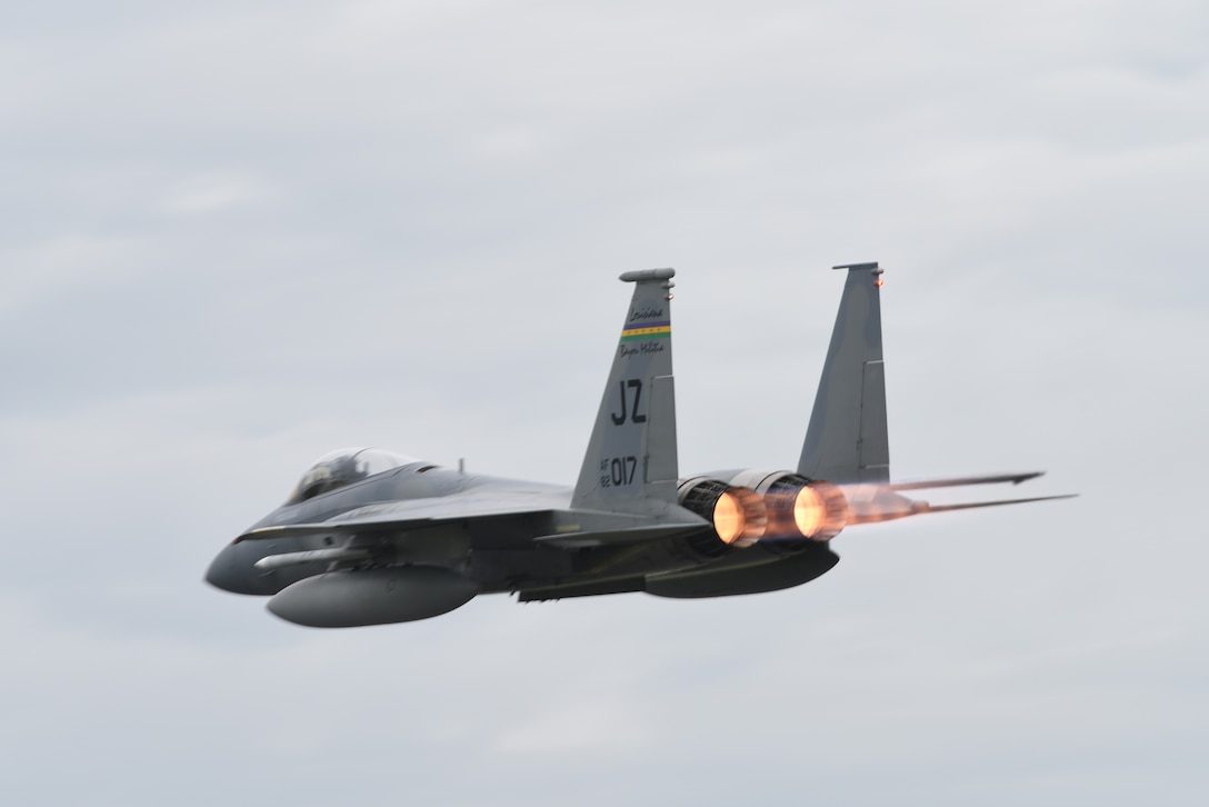 A U.S. Air Force F-15C Eagle assigned to the 194th Expeditionary Fighter Squadron, California Air National Guard, takes off during Exercise Diamond Storm at Royal Australian Air Force Base Darwin, Northern Territory, May 9, 2019.