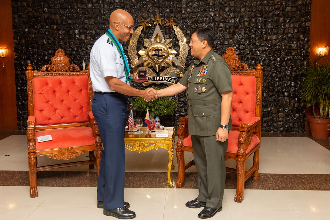Gen. CQ Brown, Jr., Pacific Air Forces commander, meets with Gen. Benjamin Madrigal, Jr., chief of staff of the Armed Forces of the Philippines  May 16, 2019, at Camp General Emilio Aguinaldo. As part of a three-day visit to the country, Brown met with senior officials from the Armed Forces of the Philippines (AFP) and the Philippine Air Force (PAF) to demonstrate the United States' shared commitment to peace and security in the region, as well as seek opportunities to enhance interoperability and capability with the PAF.