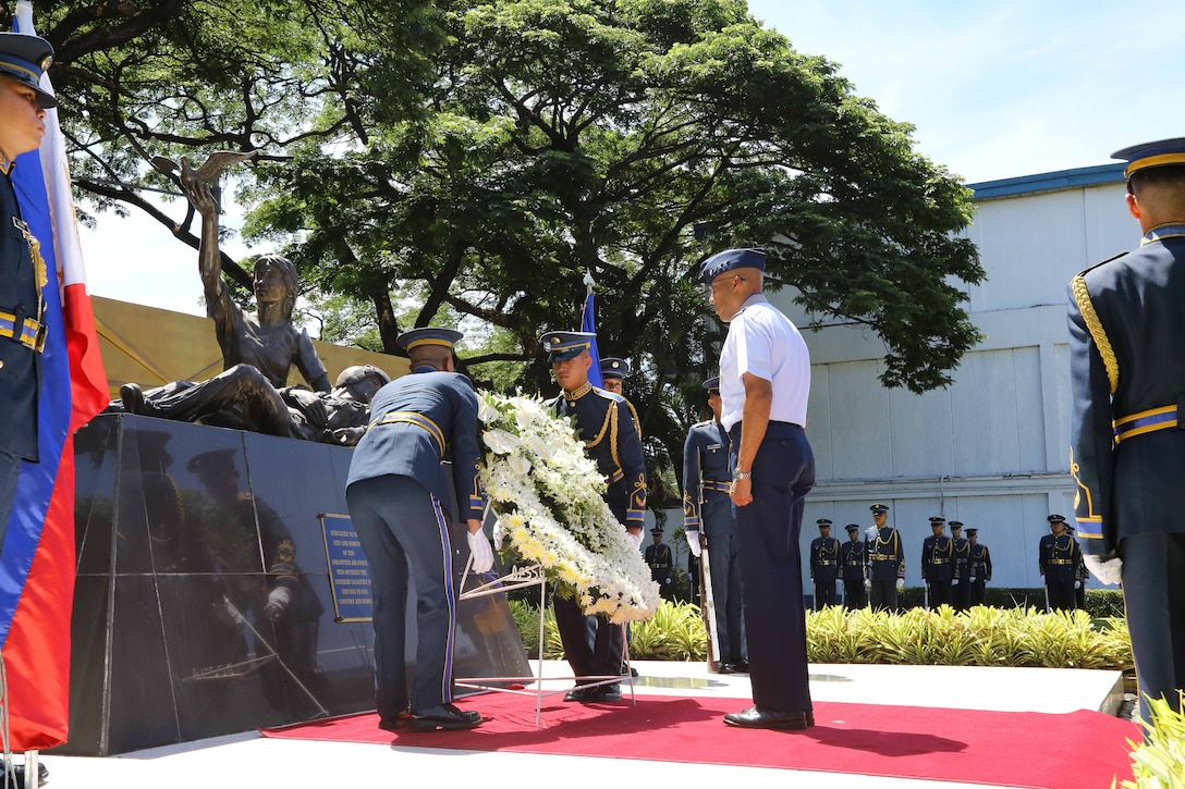 Gen. CQ Brown, Jr., Pacific Air Forces commander, participates in an honor guard and wreath-laying ceremony at the Monument of the Fallen Airmen at the Philippines Air Force (PAF) headquarters on Villamor Air Base, Philippines, May 16, 2019.  Brown met with PAF Commanding General Lt. Gen. Rozzano Briguez as well as other key leaders during his-three day visit to showcase U.S. commitment to the long-standing alliance and discuss opportunities to enhance interoperability and capability between the two air forces.