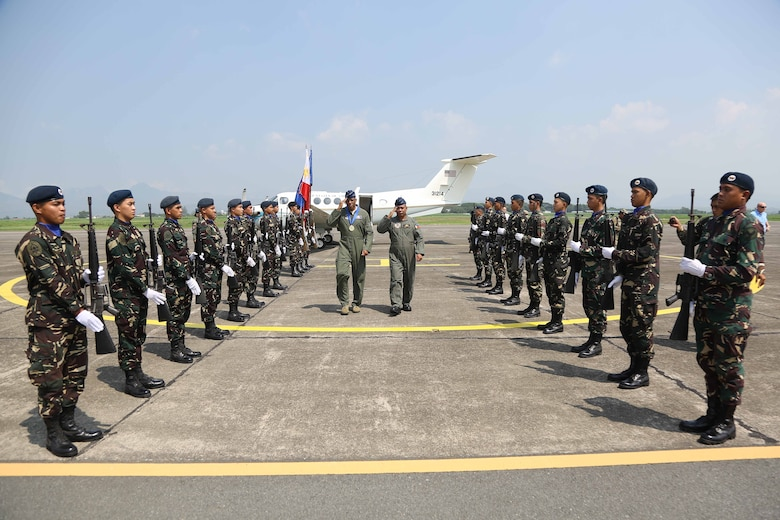 Gen. CQ Brown, Jr., Pacific Air Forces commander, meets with Philippines Air Force Commanding General Lt. Gen. Rozzano Briguez May 16 at Villamor Air Base as part of a three-day visit to the country. Brown, along with Chief Master Sgt. Anthony Johnson, PACAF command chief, visited the country to demonstrate the United States' shared commitment to peace and security in the region, as well as seek opportunities to enhance interoperability and capability with the PAF.